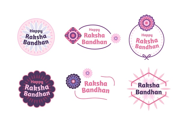 Flat raksha bandhan badges concept