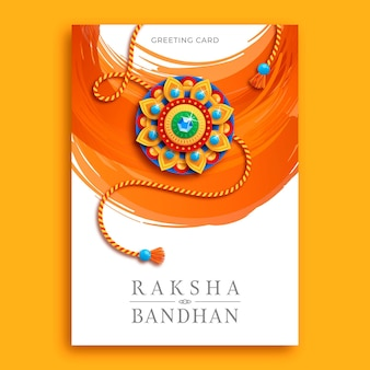 Flat raksha bandhan greeting card