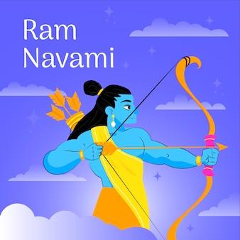 Flat ram navami background concept