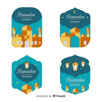 Flat ramadan badge collection