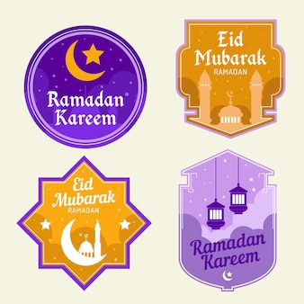 Плоская коллекция значков рамадана