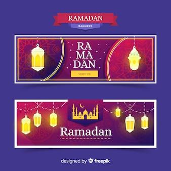 Flat ramadan banner template