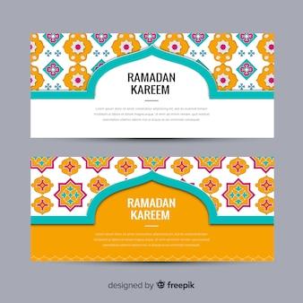 Flat ramadan banners