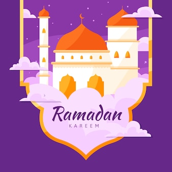 Flat ramadan concept background
