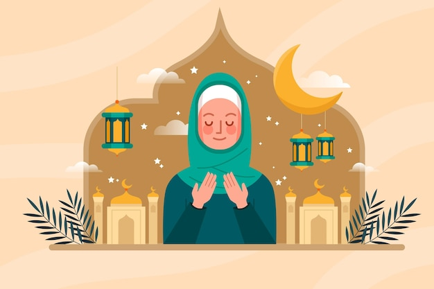 Flat ramadan concept illustration Free Vector