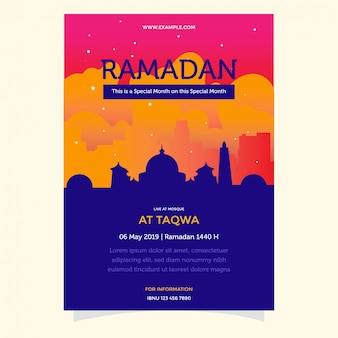Flat ramadan flyer