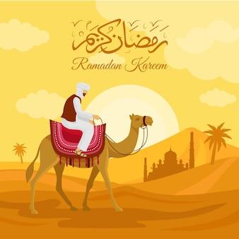 Плоская иллюстрация рамадана с человеком на верблюде