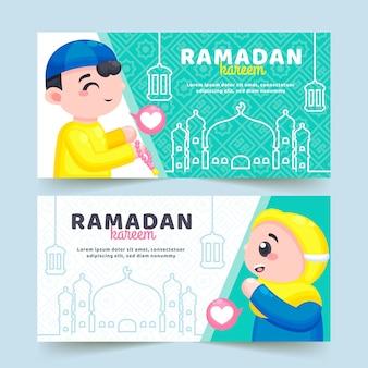 Flat ramadan kareem banners