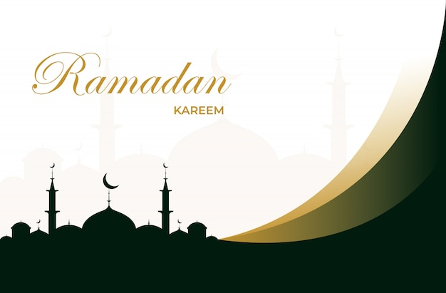 Плоский рамадан карим открытка