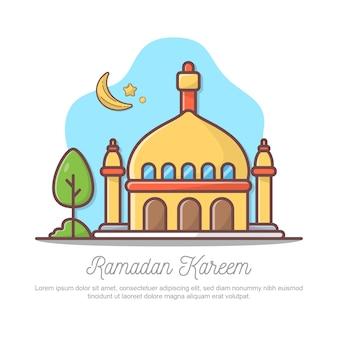 Flat ramadan kareem greeting illustration.
