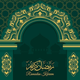 Плоская иллюстрация рамадан карим