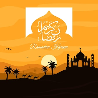 Flat ramadan kareem illustration