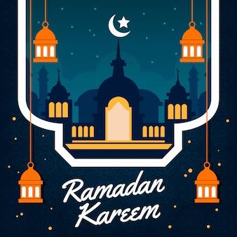 Плоский рамадан карим иллюстрация