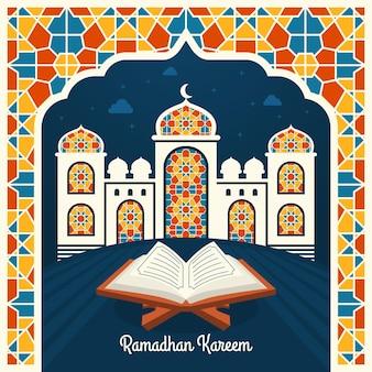 Piatto ramadan kareem illustrazione