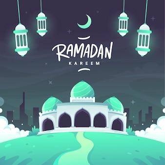 Flat ramadan kareem lettering