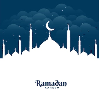 Flat ramadan kareem mosque greeting card