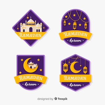 Flat ramadan label collection