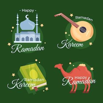 Плоская коллекция этикеток рамадана