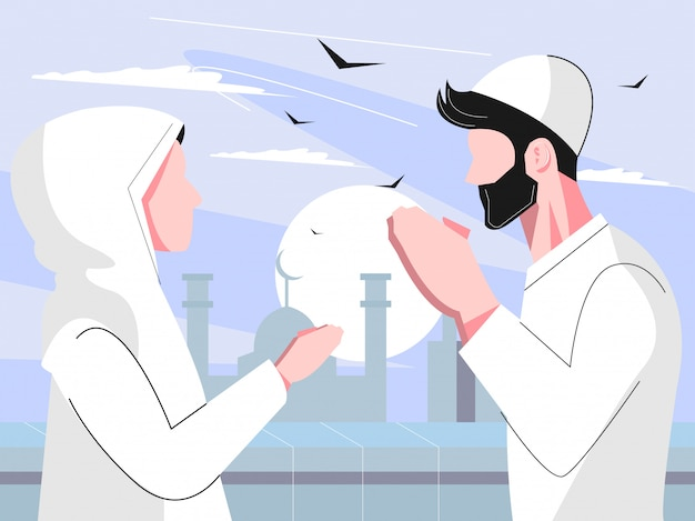 Flat ramadhan character concept with man and woman forgive