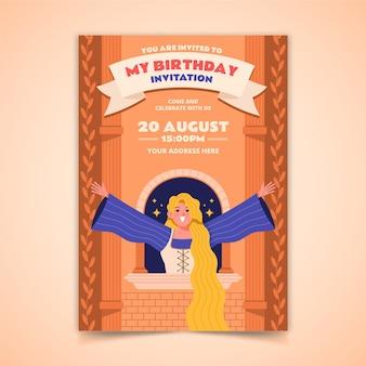 Flat rapunzel birthday invitation