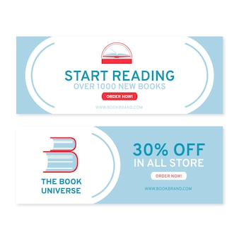Flat reading banners design template