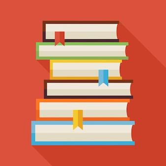影付きフラット読書本知識イラスト。学校と教育のベクトル図に戻ります。長い影のフラットスタイルのカラフルな本。図書館のインテリア。ブックマーク付きの本を読む
