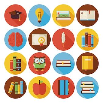 長い影で設定されたフラットな読書知識と本のサークルアイコン。フラットスタイルのベクトルイラスト。学校に戻る。科学と教育のセット。サークルアイコンのコレクション