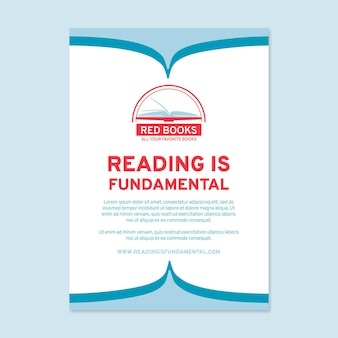 Flat reading poster template