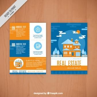 Flat real estate flyer in blue and orange color