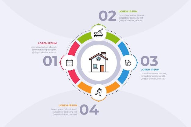 Modello di infografica immobiliare piatta