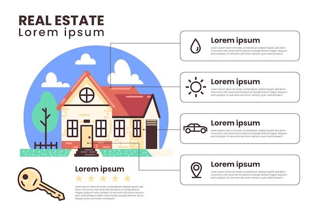 플랫 부동산 infographic 템플릿