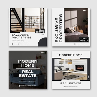 Flat real estate instagram post templates