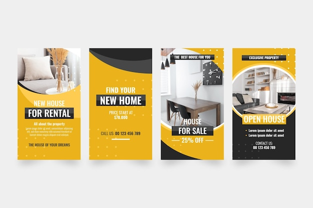 Flat real estate instagram story collection