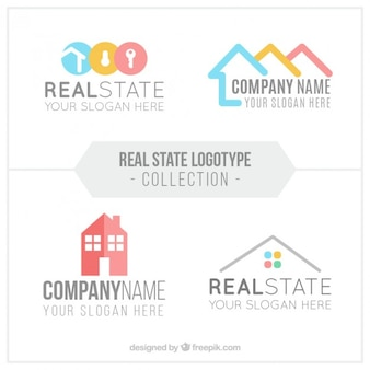 Flat real estate logo collection in abstract design