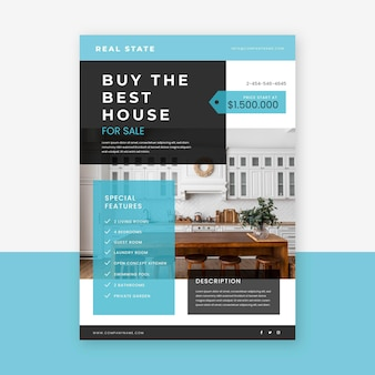 Flat real estate poster template with photo
