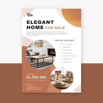 Flat real estate poster with photo