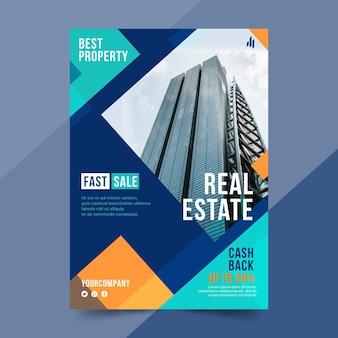 Плоский плакат о недвижимости с фотографией
