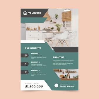 Modello di volantino verticale piatto immobiliare