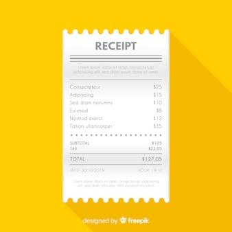 Flat receipt on yellow background