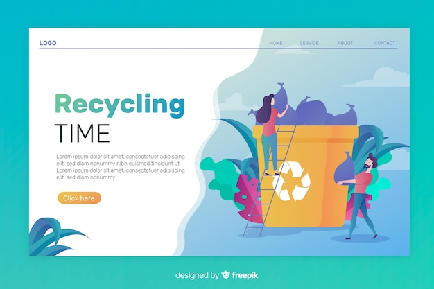 Flat recycling landing page template