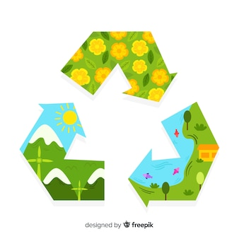 Flat recycling symbol with green fields