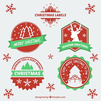 Flat and red christmas badges pack