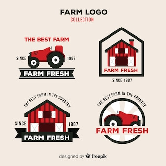 Flat red farm logo collection
