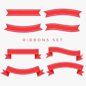 Flat red ribbons decoration set