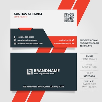 Flat red and white business card template