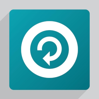 Flat reload icon, white on green background