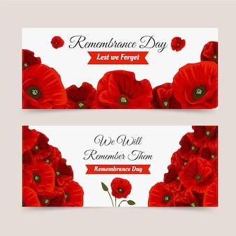 Set di banner orizzontali per il giorno della memoria piatto