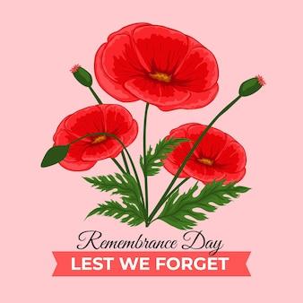 Flat remembrance day illustration