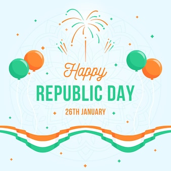 Flat republic day with balloons and flag
