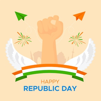 Flat republic day with fist